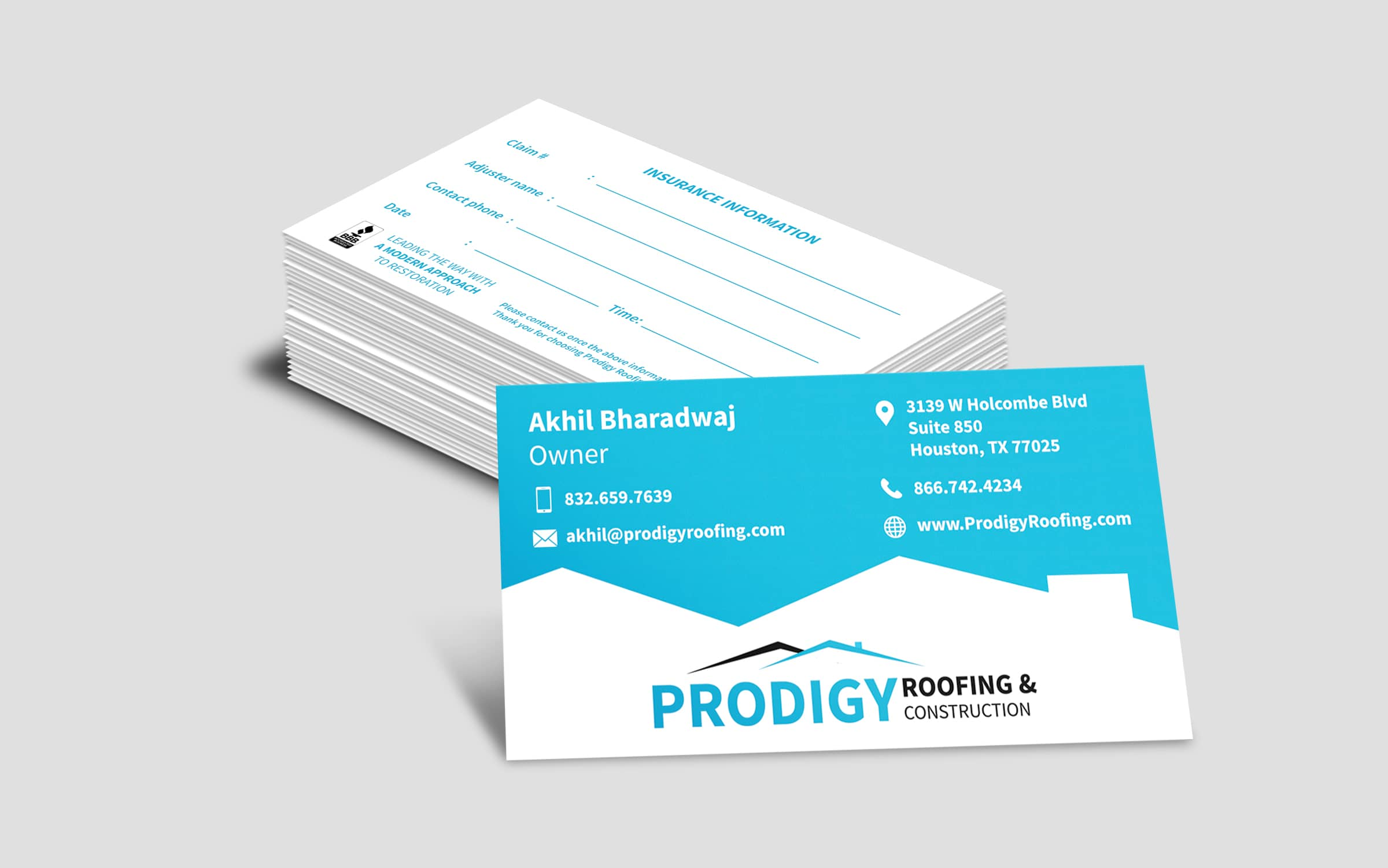 prodigy roofing system business cards design