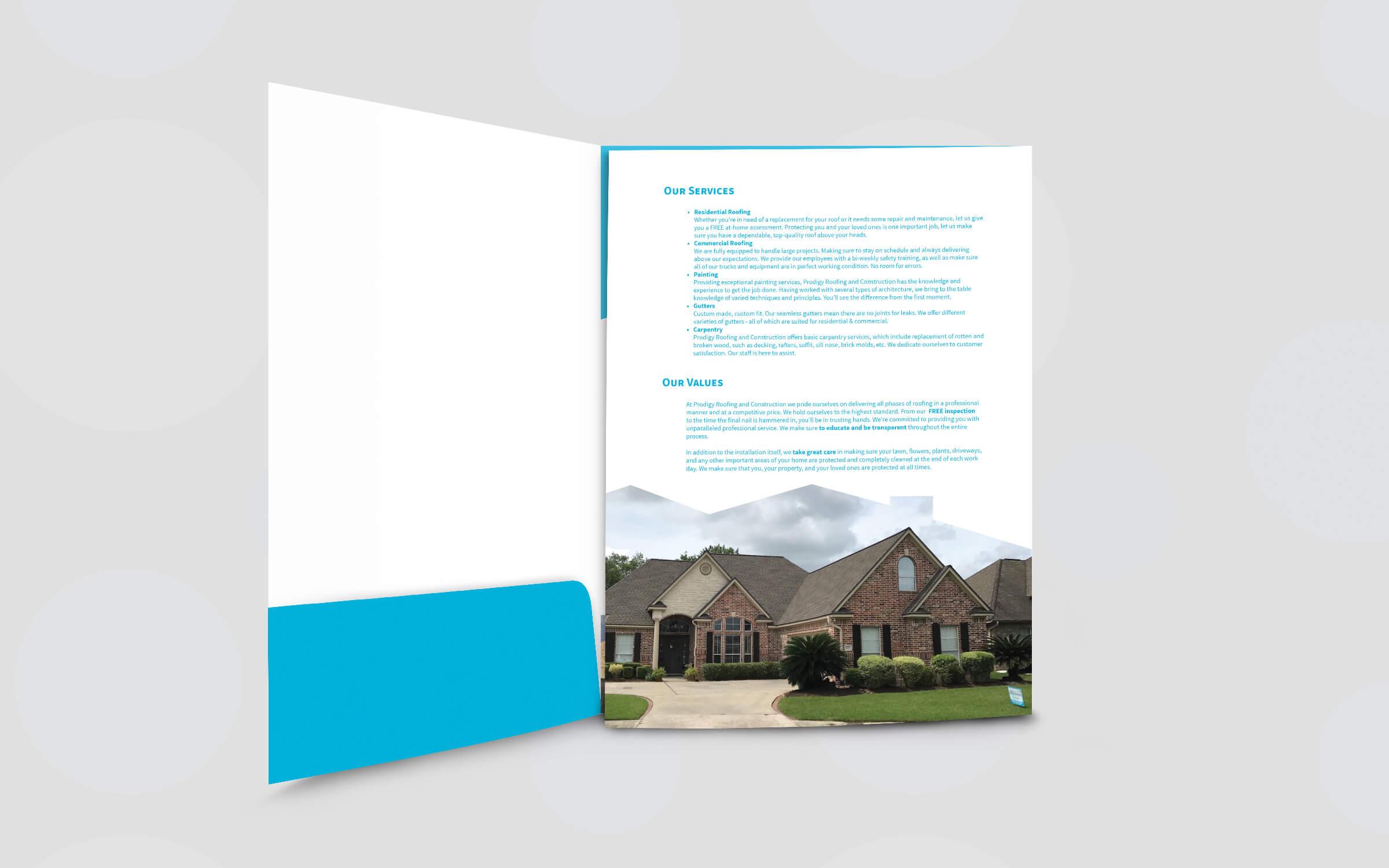 prodigy roofing system folder inside