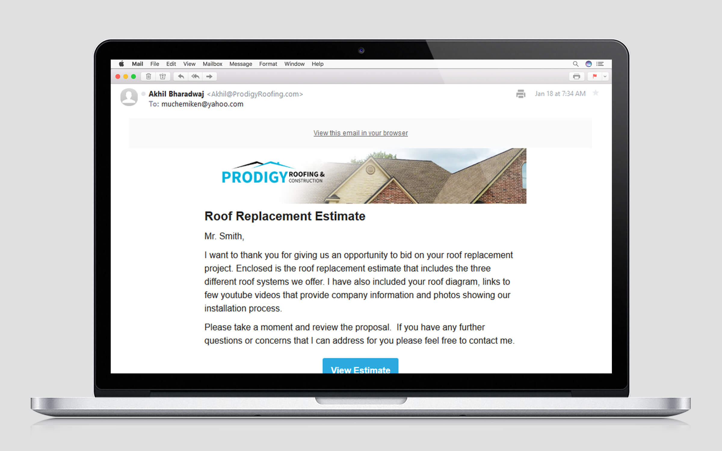 prodigy roofing system email marketing design
