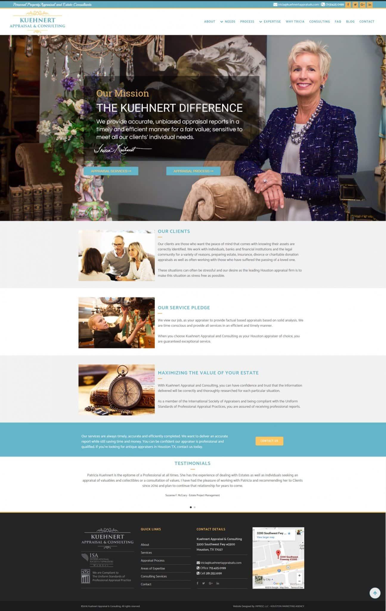 This website design portfolio item is for our client Kuehnert and Appraisals