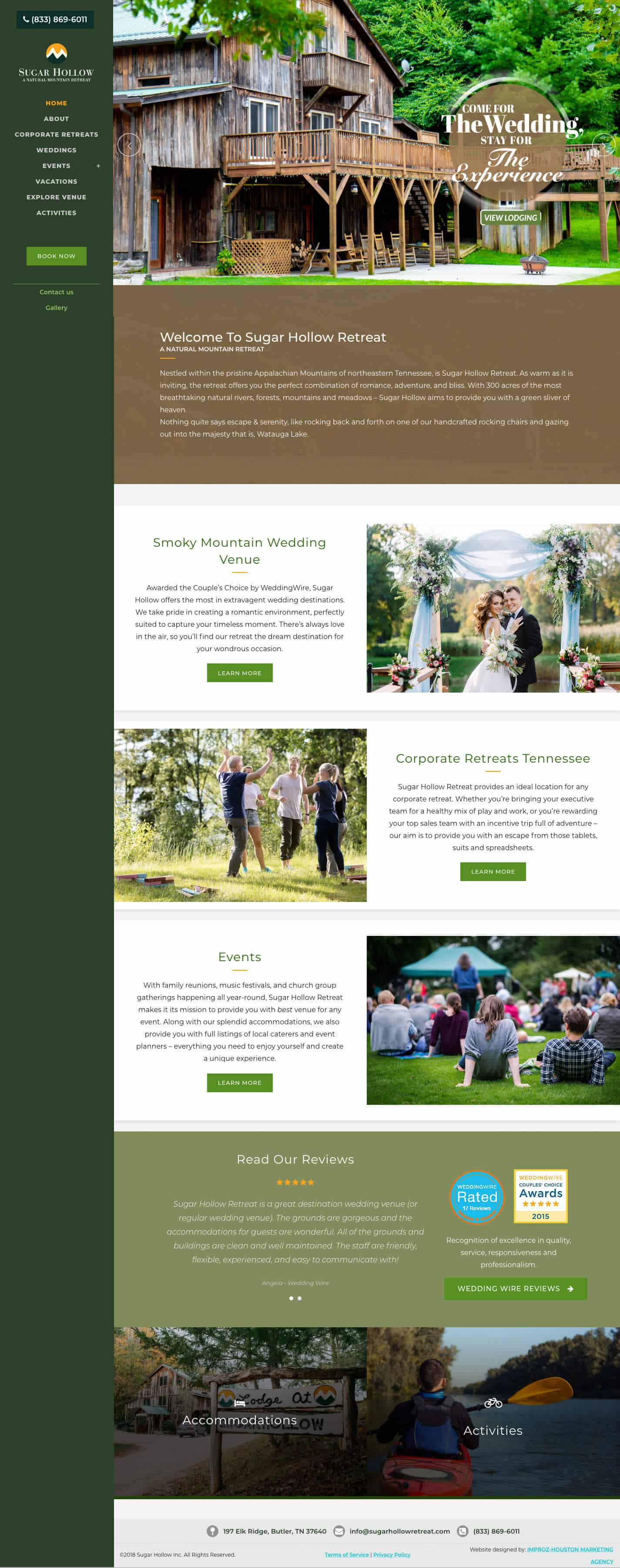 This website design job we did for our client that has a wedding venue called Sugar Hollow in Tennessee.